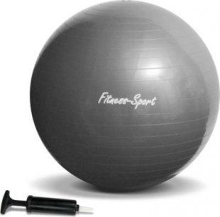 JOM Gymnastikball, Sitzball für Fitness und Sport bis 300 kg, mit Pumpe, Größe S, 65 cm, silbergrau