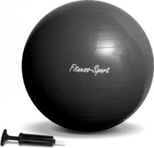 JOM Gymnastikball, Sitzball für Fitness und Sport bis 300 kg, mit Pumpe, Größe M, 75 cm, schwarz