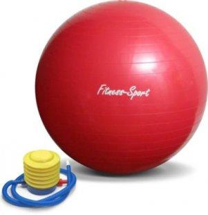 JOM Gymnastikball, Sitzball für Fitness und Sport bis 300 kg, mit Pumpe, Größe M, 75 cm, rot