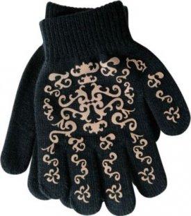 PFIFF Handschuh mit Print - schwarz/braun