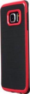 Schutzhülle Samsung S6 Edge Smartphone Handy Case Tasche Handyhülle schwarz rot