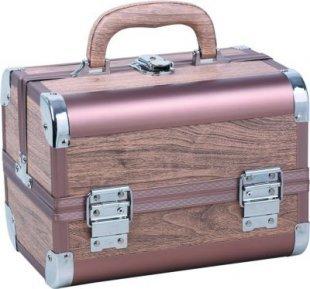 1PLUS Beauty Case Kosmetikkoffer Schminkkoffer Friseurkoffer ´´New York´´ 25 x 18 x 18 cm, Braun