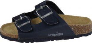 CAMPRELLA Kinder Tieffussbett Pantolette 2-Schnaller, Blau