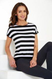 Damenshirts Überschnittener Ärmel schwarz /weiß gestreift, XL