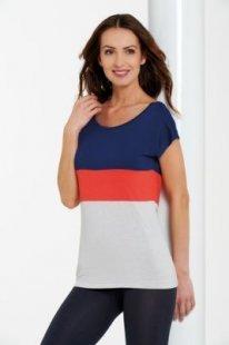 Damenshirts Überschnittener Ärmel blau /rot /grau, S