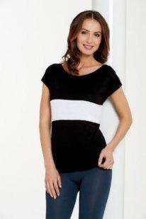 Damenshirts Überschnittener Ärmel schwarz /weiß /schwarz L