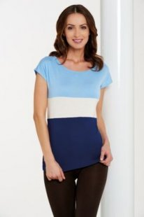Damenshirts Überschnittener Ärmel hellblau /weiß /blau, M