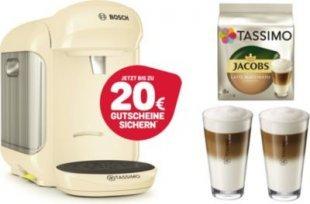 TASSIMO Vivy 2 + 20 EUR Gutscheine* + WMF Gläser + TDisc Kapseln Latte Macchiato Bosch Tassimo Vivy 2 Creme + 1x WMF LM Gläser Set + 1x LM Classico