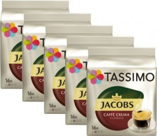 5 Pack Tassimo TDisc Jabos Caffé Crema classico 80 Tassen Kaffee Kapseln