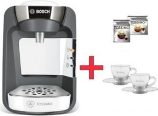 Bosch TASSIMO SUNY + 2x TDiscs + Gläser Heißgetränkemaschine TASSIMO SUNY + 2x TDisc + WMF-Gläser Set