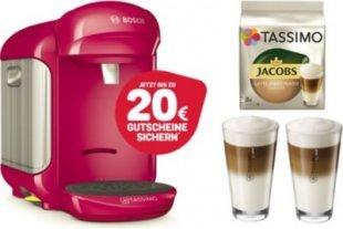 TASSIMO Vivy 2 + 20 EUR Gutscheine* + WMF Gläser + TDisc Kapseln Latte Macchiato Bosch Tassimo Vivy 2 Pink+ 1x WMF LM Gläser Set + 1x LM Classico