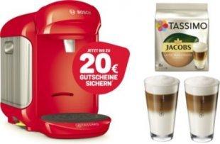 TASSIMO Vivy 2 + 20 EUR Gutscheine* + WMF Gläser + TDisc Kapseln Latte Macchiato Bosch Tassimo Vivy 2 Rot + 1x WMF LM Gläser Set + 1x LM Classico