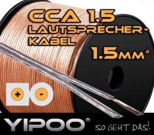 Yipoo Lautsprecherkabel 2x 1,5mm in verschiedenen Längen Länge: 10m