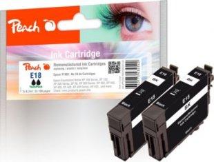 Peach Doppelpack Tintenpatronen schwarz kompatibel zu Epson No. 18 bk, T1801 (wiederaufbereitet)
