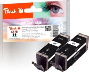 Peach Doppelpack Tintenpatronen schwarz kompatibel zu Canon PGI-570 bk (wiederaufbereitet)