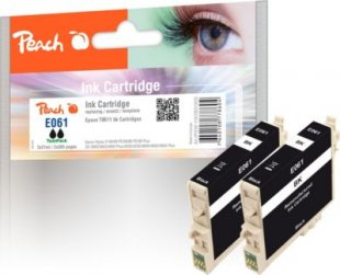 Peach Doppelpack Tintenpatronen schwarz kompatibel zu Epson T0611