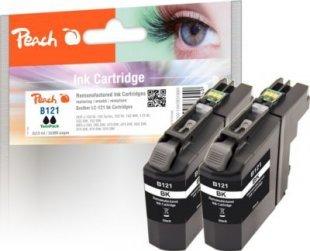 Peach Doppelpack Tintenpatronen schwarz kompatibel zu Brother LC-121BK (wiederaufbereitet)
