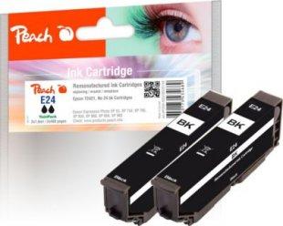 Peach Doppelpack Tintenpatronen schwarz kompatibel zu Epson No. 24 bk*2, T2421 (wiederaufbereitet)