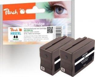 Peach Doppelpack Tintenpatrone schwarz HC kompatibel zu HP No. 932XL, CN053AE