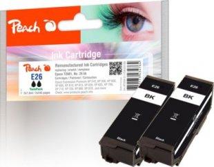 Peach Doppelpack Tintenpatronen schwarz kompatibel zu Epson No. 26 bk, T2601 (wiederaufbereitet)