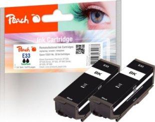 Peach Doppelpack Tintenpatronen schwarz kompatibel zu Epson No. 33 bk*2, T3331 (wiederaufbereitet)