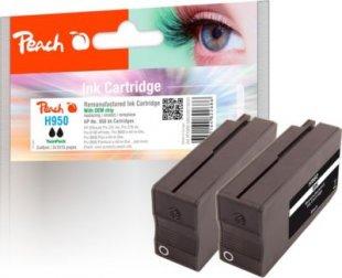 Peach DoppelpackTintenpatrone schwarz kompatibel zu HP No. 950, CN049AE