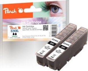 Peach Doppelpack Tintenpatronen schwarz kompatibel zu Epson No. 24XL bk, T2431