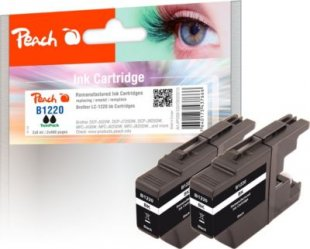 Peach Doppelpack Tintenpatronen schwarz kompatibel zu Brother LC-1220BK*2 (wiederaufbereitet)