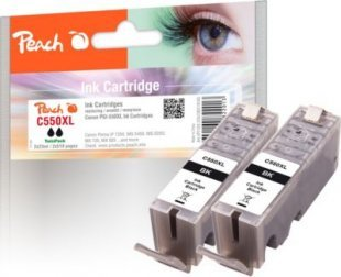 Peach Doppelpack Tintenpatronen schwarz kompatibel zu Canon PGI-550, PGI-550PGBK XL
