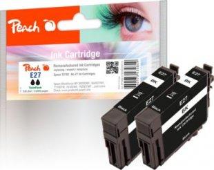 Peach Doppelpack Tintenpatronen schwarz kompatibel zu Epson No. 27 bk, T2701