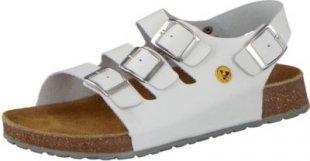 VIVALITY Damen ESD Berufsschuh Tieffußbett Sandale Echt-Leder, Weiß