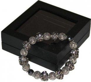 Edles Shamballa Armband Magnetarmband silber Perlen Strass Kugel Bettelarmband