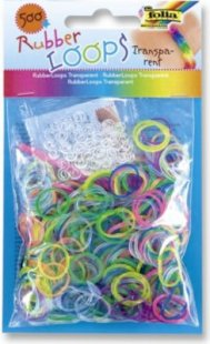 Folia Rubber Loops Loom Gummibänder, Transparent Mix, mehrfarbig (500er Pack)