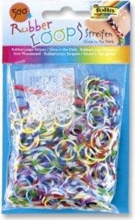 Folia Rubber Loops Loom Gummibänder, Streifen Mix, leuchten im Dunkeln, mehrfarbig (500er Pack)