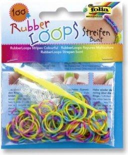 Rubber Loops Loom Gummibänder, 100 Stück, Streifen Mix