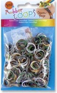 Folia Rubber Loops Loom Gummibänder, Camouflage Mix, bunt (500er Pack)