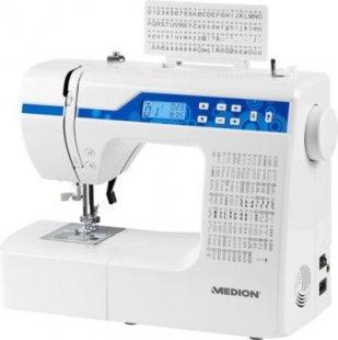 MEDION® Dig. Nähmaschine MD 15694, Knopflochautomatik, 100 Stiche, 100 Alphabetstiche, 69 Doppel-Nadel-Stiche, LED-Nählicht, umfangreiches Zubehör, weiß