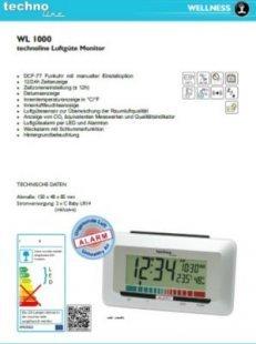 TechnoLine WL 1000 Luftgüte-Monitor mit Luftgütealarm - weiß