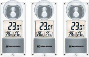 BRESSER Solar Fenster Thermometer mit Saugnapf - 3er Set