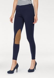 Tom Tailor Polo Team Leggings im Reithosen-Look durch Kniebesätze in Veloursleder-Optik