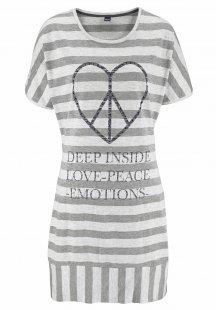 ARIZONA Gestreiftes Nachthemd mit herzförmigem Peaceprint