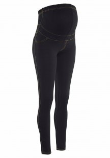 Neun Monate Umstandsleggings in Black-Denim-Optik