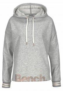 Bench. Kapuzensweatshirt mit gestreiften Bündchen und Glanzprint