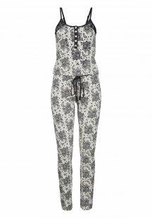 LASCANA Jumpsuit Schwarz-weißes Design mit Perlmuttknöpfen