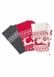 Socken (3 Paar) in weihnachtlichem Norwegermuster